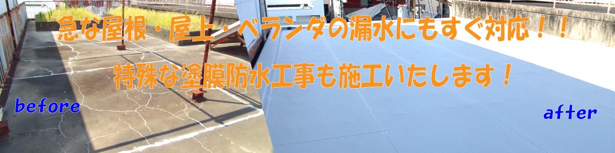 急な屋根・屋上・ベランダ防水の他、特殊な塗膜防水工事にも対応いたします!